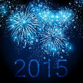 picture of yule  - Happy New Year 2015 fireworks background - JPG