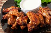 foto of chicken wings  - Baked chicken wings in the Asian style - JPG