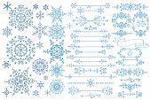 foto of cold-weather  - Winter Snowflake big set - JPG