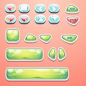 image of yes  - Set glamorous buttons with an OK button - JPG