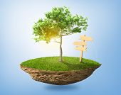 image of levitation  - Beautiful small island with grass and tree levitating in the sky - JPG