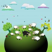 picture of sheep  - Abstract colorful illustration with clouds - JPG