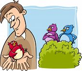stock photo of proverb  - Cartoon Humor Concept Illustration of A Bird in the Hand is Worth Two in the Bush Saying or Proverb - JPG
