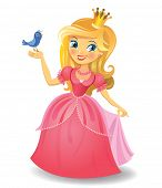 image of queen crown  - Illustration of beautiful princess keeping a bird on a hand on wight background - JPG