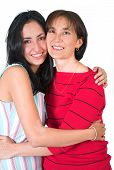 image of mother daughter  - mother and daughter portrait over white - JPG