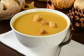 image of butternut  - A bowl of butternut squash soup with pumpkin cornbread croutons - JPG