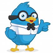 stock photo of dork  - Clipart Picture of a Blue Bird Geek Cartoon Character - JPG