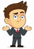 stock photo of confuse  - Clipart Picture of a Confused Gesturing Male Businessman Cartoon Character - JPG