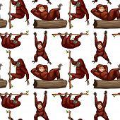 picture of orangutan  - illustration of a seamless orangutans - JPG
