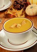 picture of butternut  - A cup of butternut squash with cornbread pumpkin croutons - JPG