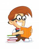 image of dork  - Clipart Picture of a Nerd Geek Cartoon Character Reading Book - JPG