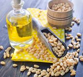 image of pine nut  - pine nuts and pine nut oil in the bottle - JPG
