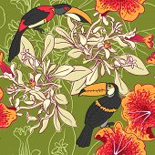 stock photo of toucan  - vector background Seamless floral background with petunia toucan - JPG