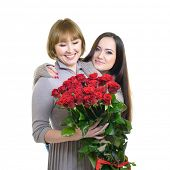 stock photo of daughter  - Portrait of aged mother and young daughter at Mother - JPG