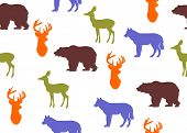 foto of deer meat  - background with the silhouettes of different animals - JPG