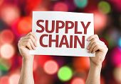 stock photo of supply chain  - Supply Chain card with colorful background with defocused lights - JPG