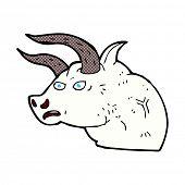 image of bull head  - retro comic book style cartoon angry bull head - JPG
