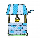 stock photo of wishing-well  - retro comic book style cartoon wishing well - JPG