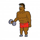 stock photo of weight lifter  - retro comic book style cartoon man lifting weights - JPG