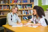 image of tutor  - Student getting help from tutor in library at the university - JPG