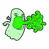 foto of funny ghost  - funny retro comic book style cartoon ghost - JPG