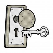 stock photo of spooky  - retro comic book style cartoon spooky old door knob - JPG