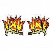 pic of antlers  - retro comic book style cartoon flaming antlers - JPG