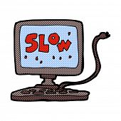 foto of outdated  - retro comic book style cartoon slow computer - JPG
