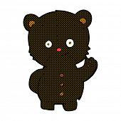 image of bear-cub  - retro comic book style cartoon waving black bear cub - JPG