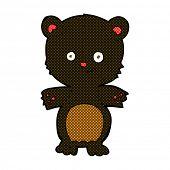 foto of bear-cub  - retro comic book style cartoon black bear cub - JPG