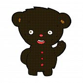 pic of bear-cub  - retro comic book style cartoon waving black bear cub - JPG