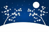 pic of night-blooming  - Blue white background with night landscape illustration - JPG
