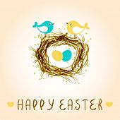 pic of bird egg  - Happy easter card with birds and eggs in the nest - JPG