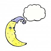 stock photo of sleepy  - sleepy moon cartoon with thought bubble - JPG