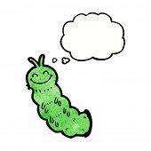 stock photo of caterpillar cartoon  - cartoon caterpillar with thought bubble - JPG