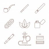 picture of guillotine  - vector grey outline various tobacco goods accessories icons set white background - JPG