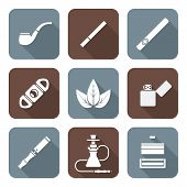 pic of tobacco leaf  - vector white color flat design various tobacco goods accessories square icons set long shadow - JPG