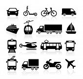 image of ski boat  - Collection of icons representing transportation and travel - JPG