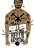 image of bachelor party  - Typographic poster for stag party  - JPG