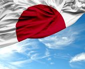 stock photo of japanese flag  - Japan waving flag on a beautiful day - JPG