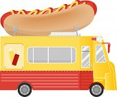 pic of food truck  - Illustration of a Food Truck With a Giant Hot Dog Installation on the Roof - JPG