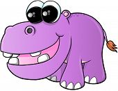 picture of hippopotamus  - Cute hippopotamus Vector Illustration Art5083_PurpleHippo - JPG