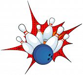 picture of bowling ball  - Illustration of a bowling ball strike with falling pins - JPG