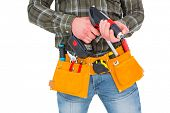 foto of hammer drill  - Manual worker holding gloves and hammer power drill on white background - JPG