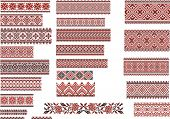 image of stitches  - Set of Ukrainian ethnic patterns for embroidery stitch in red and black  - JPG