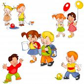 pic of kindergarten  - set of colored painted children - JPG
