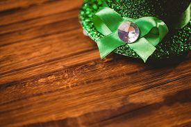 image of st patty  - St patricks day hat on wooden table - JPG