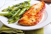 picture of  breasts  - Spicy chicken breast with minted green beans