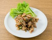 picture of thai cuisine  - Thai Cuisine and Food Thai Traditional Nam Tok or Spicy Grilled Beef Salad Served with Lettuce Leaves - JPG