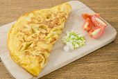 picture of scallion  - Thai Cuisine and Food Delicious Thai Style Omelet with Tomatoes and Chopped Scallion on Wooden Board - JPG